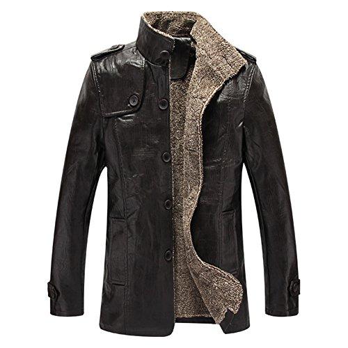 Highdas Hiver PU Vestes Cuir Manteaux Thermiques Hommes Faux Cuir Vestes Vêtement Chaud Noir XL