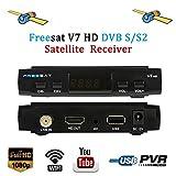 Freesat V7 HD Satellite TV Receivers Full 1080P DVB-S/S2 Free to Air Digital Receptor FTA Signal Detector Support Decoder,Youtube,PVR EPG for HDTV,Powervu,DRE & Bisskey, Network Sharing,USB WiFi