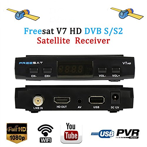 Freesat V7 HD Satellite TV Receivers Full 1080P DVB-S/S2 Free to Air Digital Receptor FTA Signal Detector Support Decoder,Youtube,PVR EPG for HDTV,Powervu,DRE & Bisskey, Network Sharing,USB WiFi