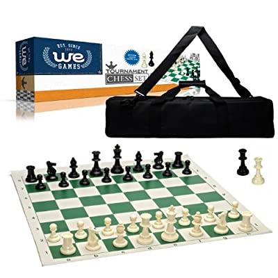 """Wood Expressions Tournament Chess Set with Canvas Bag - 3 3/4"""" King - Double Weighted Chessmen"""