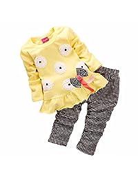 Kids Girls Long Sleeve Cute Flower Bow Shirts Plaid Pants Outfits Set Clothing