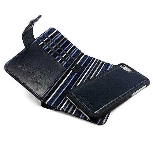 Alston Craig Tec E-scape Echtleder Geldbörse und hülle Portemonnaie einem im Vintage Look, mit magnetischer Halterung und (RFID-Ausleseschutz für Ihre Karten) - für iPhone 8 - Blau