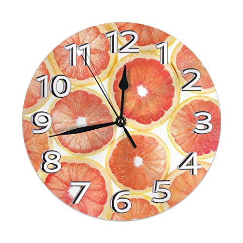 Miragerr Wall Clock Orange Crush Round Clock 9.8 Inch Silent Home Decor Wall Clock Arabic Numerals Indoor Clock (Orange Crush Glass Clock)