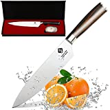 IDEELAND Pro 8 Inch Chef Knife with Bonus Odor Remover - High Carbon Stainless Steel Professional Kitchen Knife - Handcrafted Handle - Razor Sharp Knife Set to Slice, Dice, Chop Vegetable & Meat