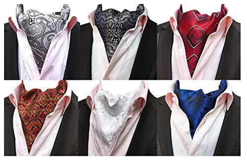 (MOHSLEE Mens 6 PCS Floral Cravat Ascot Scarf Tie Necktie Neck Ties Warm Set of 6)