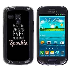 Paccase / SLIM PC / Aliminium Casa Carcasa Funda Case Cover para - Dull Sparkle Black Motivational Inspirational - Samsung Galaxy S3 MINI NOT REGULAR! I8190 I8190N