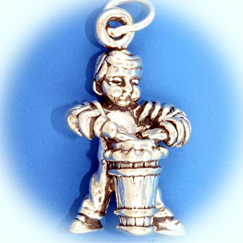 Boy On Conga Drum Mambo Cuban Music 3D .925 Solid Sterling Silver Charm Heavy Vintage Crafting Pendant Jewelry Making Supplies - DIY for Necklace Bracelet Accessories by CharmingSS