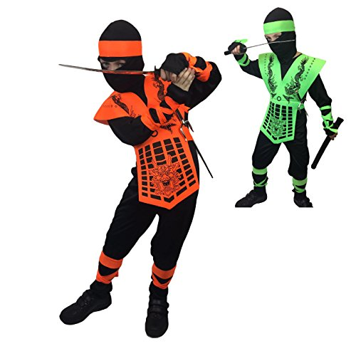 Gi Joe Black Ninja Costume (Kids Neon Mortal Combat , Ninja Costume , Sub Zero , GI JOE , Action , Costume (6-8 Years, Neon Orange))