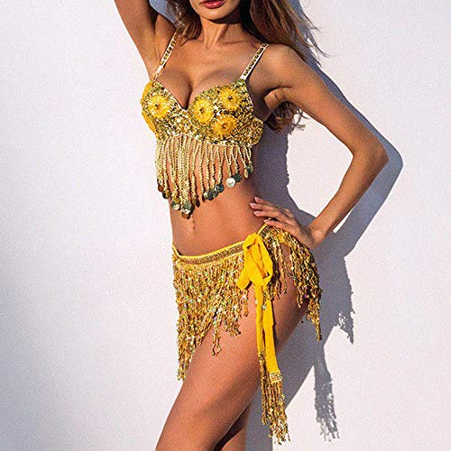 Hiver Jupe Belly Danseuse Paillettes Hcfkj Costume Gland Club Mini Femme femme Gold c5Rj3Lq4AS