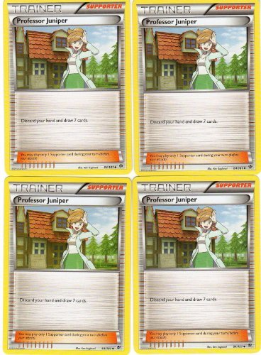 x4 Professor Juniper (Plasma Blast #84/101) Pokemon Card Playset [Trainer-Supporter]