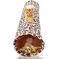 SunGrow Cat Tunnel, Leopard Skin Print, Encourages Healthy Play, Promotes Physical and Psychological Well-Being of Felines, Comes with Hanging Ball, Make Your Kitty Feel Like a Mighty Leopard