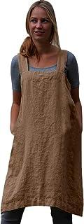 DOLDOA Women Casual Sling Dress Cotton Linen Square Cross Apron Garden Work Pinafore Dress,2019 New,3XL-5XL