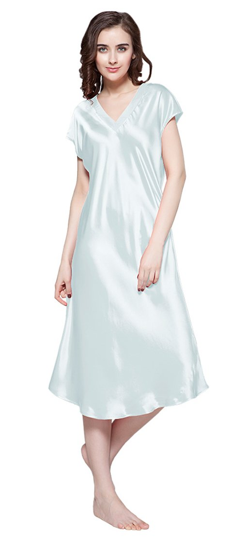 LilySilk Women's 100 Silk Nightgown Long V Neck 22 Momme Pure Mulberry Silk Nightdress Light Sky Blue Size 8-10/M