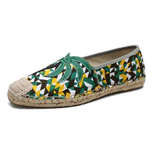 Pescatore Scarpe Scarpe Pigre Singole Traspirante Green Scarpe da di Basse Estate Donna Paglia Nuovo Lino Scarpe Sandales Scarpe qEZS1