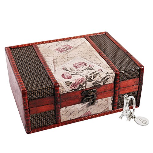 SICOHOME Treasure Box 9.0inch Retro Stamps Small Trunk Box for Jewelry Storage,Treasure Cards Collection,Gift Box,Gifts and Home Decoration