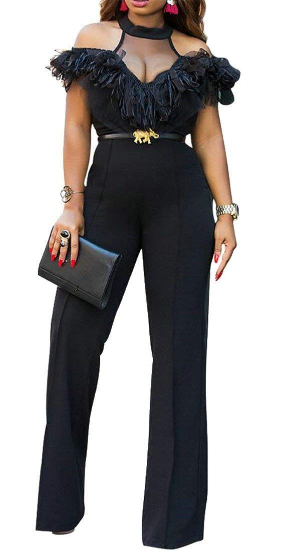 Summer Women Sexy Cold Shoulder Mesh Bodycon Loose Fit Jumpsuits Clubwear