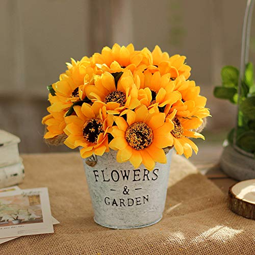 Sunflower Topiary - Artificial Plants Lifelike Mini Plants Fake Green Grass Flower with Vintage Iron Pots Faux Greenery for House Decorations (Sunflower)