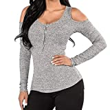 Women's Track and Active Jackets V Neck Blouses for Teens Women's Slim O-Neck Off Shoulder Long Sleeve Zipper Tops T-Shirt Gray Blouse (Gray, S)