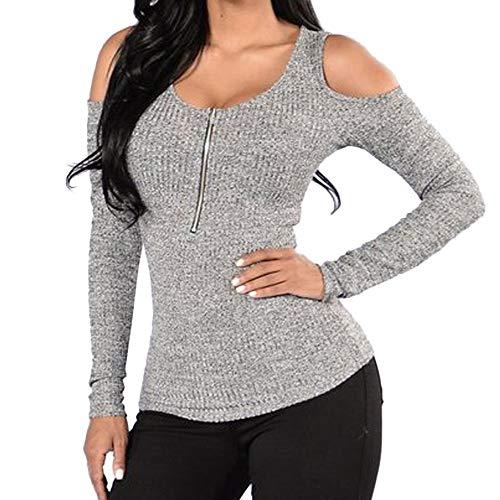 Todaies Women Autumn Blouse Women Slim O-Neck Tops Off Shoulder Long Sleeve Zipper T-Shirt Gray -