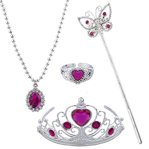 Lux Accessories Pink Princess Tiara Wand Necklace Halloween Costume Set 4PC