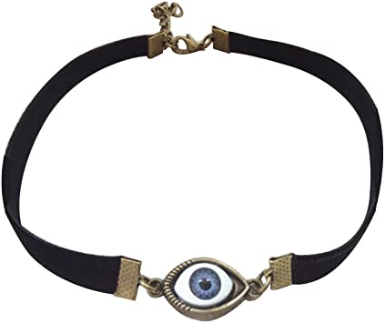 necklace with rockery beads necklace with evil eye Neck collar white and blue necklace