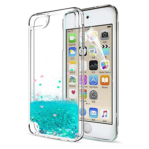 iPod Touch 6 Case, iPod Touch 5 Liquid Case with HD Screen Protector for Girls,LeYi Shiny Glitter Quicksand Clear TPU Protective Phone Case for Apple iPod Touch 6th / 5th Generation ZX Turquoise