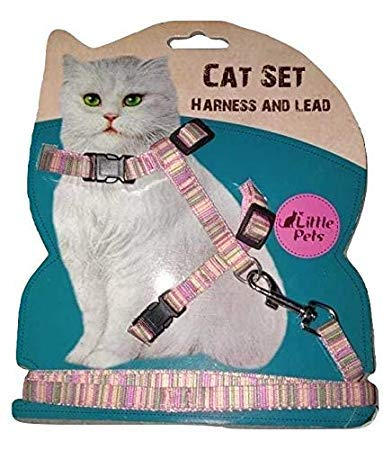 Store 09 Body Harness Set for Cats with Adjustable Nylon Leash (Color and Pattern May Vary)