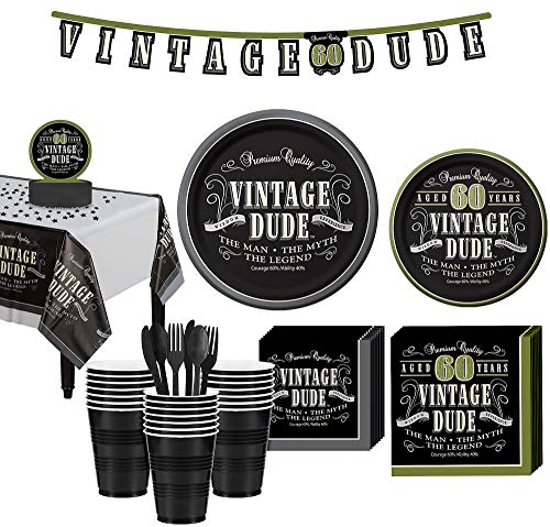 Party City Vintage Dude 60th Birthday Party Kit