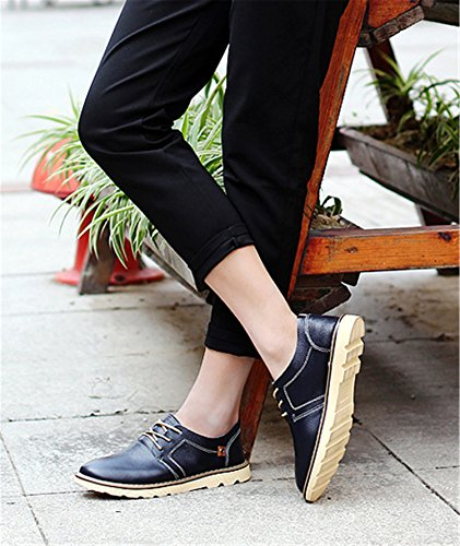 Rainstar Mens Cowskin Low Top Fashion Sneaker Lace Up Scarpa Business Casual Nera