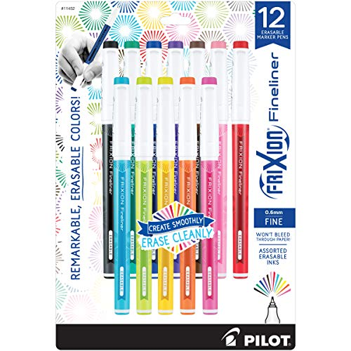 Pilot FriXion Fineliner Erasable Marker Pen, Fine Point (0.6mm), Assorted Colors, 12 Pack ()