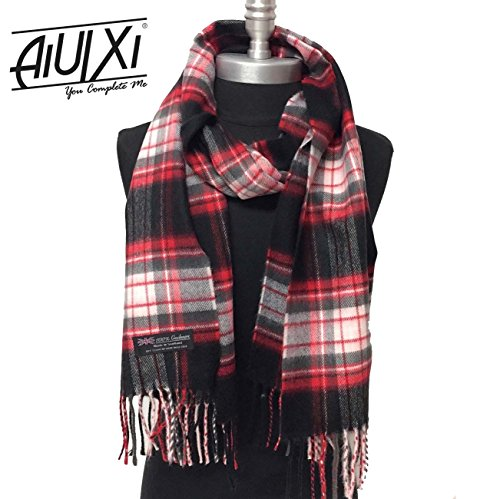 AiUIXi1991 New 100% CASHMERE SCARF SCOTLAND SOFT Warm Wool WRAP Plaid Color Black Red Pink