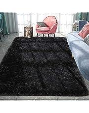 Pacapet Fluffy Area Rugs, Black Shag Rug for Bedroom, Plush Furry Rugs for Living Room, Fuzzy Carpet for Kid's Room, Nursery, Home Decor, 4 X 5.9 Feet