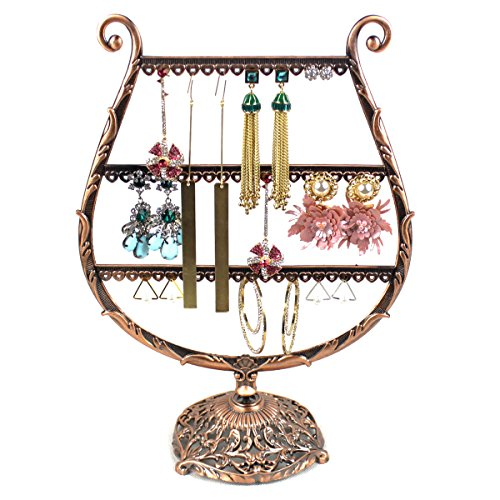 HQdeal Vintage Bronze Cup-Shaped Earring Holder / Earring Oraganiser / Earring Stand / Earring Display - Cup Shaped Ring