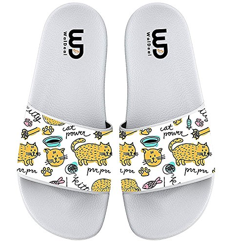 Cartoon Cute Hand-Painted Cat Print Summer Slippers for Boy & Girl Indoor Outdoor Beach Casual Shoes by OriginalHeart