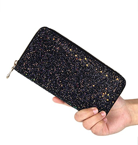 Clutch Women's Shiny Wallet Badiya Glitter Black Card Design Long Holder Purse Bling dfwYd0xAq