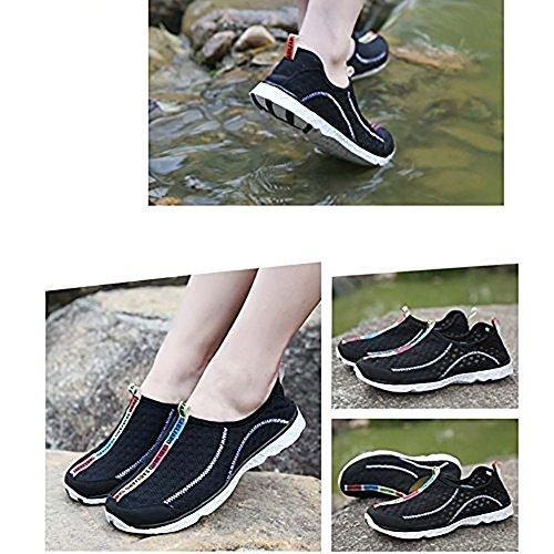 Topcloud Unisexe Femmes Hommes Aqua Chaussures de Plage Chaussures Respirant Maille Imperméable à L'eau Anti-Dérapant Chaussures de Natation à Sec Rapide Chaussures de Surf Noir L0Cfvk