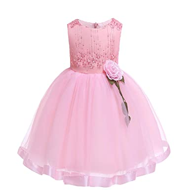 3a983a83ed0 Amazon.com  YULINGA Floral Baby Girl Princess Bridesmaid Pageant Gown  Birthday Party Wedding Dress  Clothing
