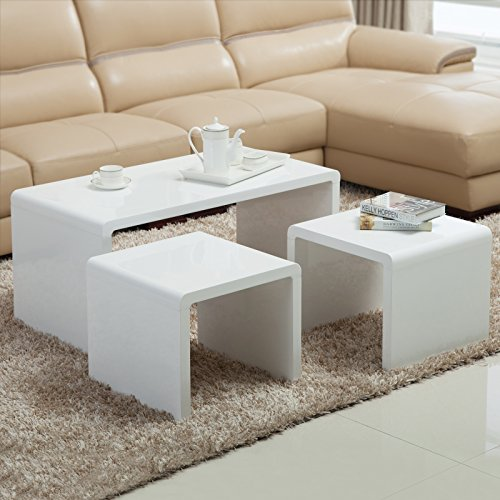Nurxiovo Nest of 3 Coffee Table High Gloss Side End Table White (Gloss Coffee)