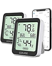 Govee Hygrometer Thermometer 2 Pack, Indoor Bluetooth Humidity Meter with APP Alerts, Room Thermometer with Large LCD Display, Max Min Records, 2-Year Data Storage Export
