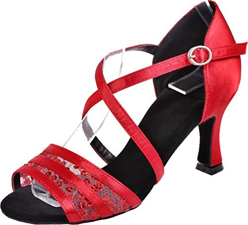 cha Party Da Practice Ballroom 3in In Cha Wedding Principiante Sudue Cinghie Salsa Ballo Body Cfp Rosso Swing Scarpe Peep Tango Raso Comfort Toe Sole Latin Ladies wIZ1Pq8