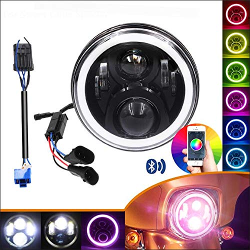 7 Inch 2014-2019 Harley Street Glide Special LED Headlight, with Cellphone Bluetooth Controlled Multicolor Angel Eye, Road King Special Headlamp Hi-Lo Beam Projector with RGB Music Mode ()