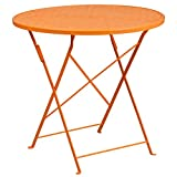 Flash Furniture 30'' Round Orange Indoor-Outdoor Steel Folding Patio Table