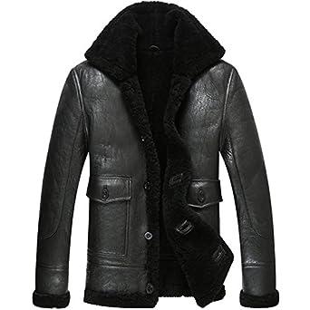 LINAILIN Leather Jacket Men Shearling Coat Pilot Outerwear B3 Men ...