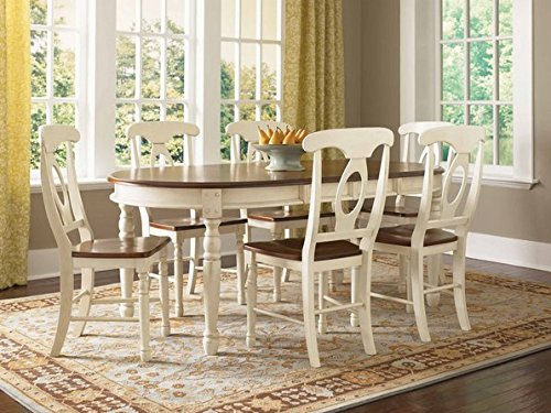 Traditional Solid Wood Off White Dining Table with Four Chairs