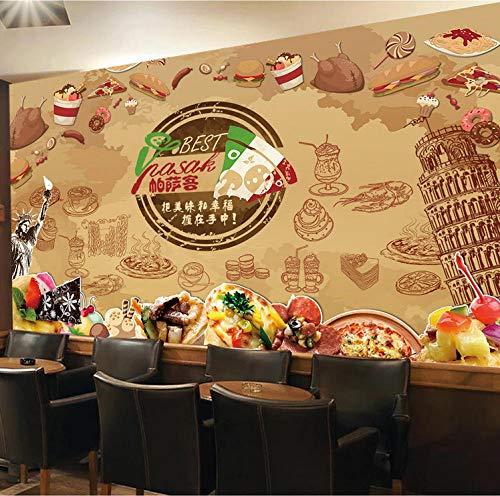 Wanghan 3D Wallpaper Custom Wallpaper Retro Pizza Hot Dog Fried Chicken Dessert Graffiti Background Coffee Hall Western Restaurant Wall Mural-150Cmx100Cm