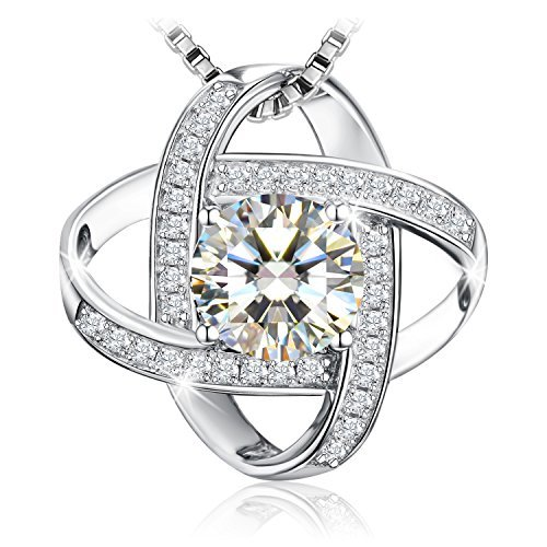 """Necklace, Sterling Silver 5A Cubic Zirconia Pendant Necklace J.Rosée Fine Jewelry for Women Never Ever Be Apart with Exquisite Package, 18''+ 2"""" Extender"""