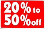 """1-Set Heart-stopping Unique Sale 20% to 50% Percent Off Sign Promotion Customers Display Yard Signage House Business Tags Store Retail Banner Clearance Price Outdoor Banners Kit Size 7"""" x 11"""""""