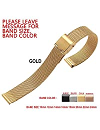 Zhuolei Stainless Steel Slim Mesh Watch Band Strap 10mm 12mm 14mm 16mm 18mm 20mm 22mm 24mm