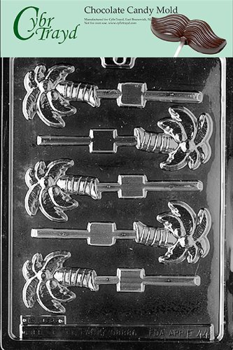 (Cybrtrayd F044 Palm Tree Lolly Chocolate Candy Mold with Exclusive Cybrtrayd Copyrighted Chocolate Molding Instructions)