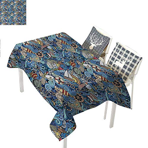 WilliamsDecor Nautical Summer Table Cloths Abstract Pattern Sea Shells Sea Horse Corals Fish Rob Globe Maps Wavy Oceanblue Multicolor Rectangle Tablecloth W60 xL84 inch -